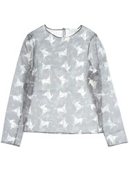 J.W.Anderson Donkey Print Sheer Top Grey