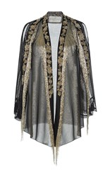 Alberta Ferretti Lame Fringe Evening Jacket Metallic