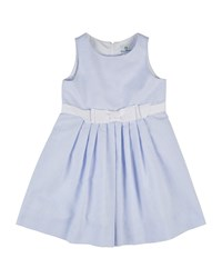 Florence Eiseman Sleeveless Pleated Ottoman Dress White Blue