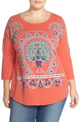 Plus Size Women's Lucky Brand Peacock Graphic Tee