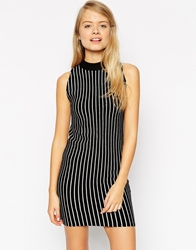 Asos Turtle Neck Dress In Knit With Vertical Stripe Multi