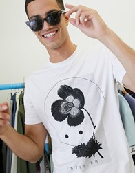 Selected Homme Abstract Graphic Print T Shirt In White