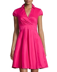 Betsey Johnson Cap Sleeve Fit And Flare Shirtdress Hot Pink
