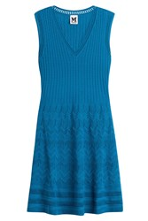 M Missoni Sleeveless Wool Blend Dress Turquoise