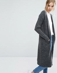 Vila Long Knit Cardigan Light Grey Marl