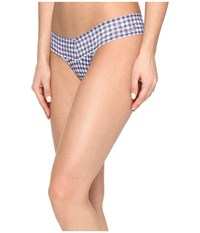 Hanky Panky Check Please Low Rise Thong Navy White Women's Underwear Blue