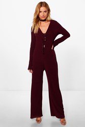 Boohoo Lace Up Extra Long Sleeve Ribbed Jumpsuit Berry