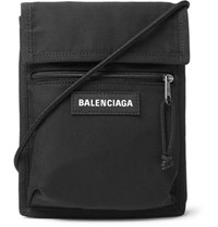Balenciaga Logo Detailed Canvas Messenger Bag Black