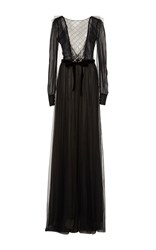 Monique Lhuillier Long Sleeve Pearl Embellished Gown Black