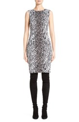 St. John Women's Collection Leopard Stretch Jacquard Dress