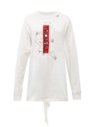Hillier Bartley Trouble Back Tie Long Sleeve Cotton T Shirt White Multi