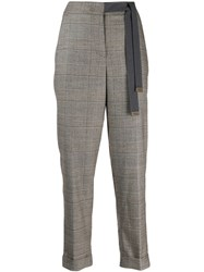 Peserico Cropped Check Trousers Grey