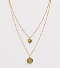 Reclaimed Vintage Inspired 14K Gold Plated Medallion Coin Multirow Necklace Gold