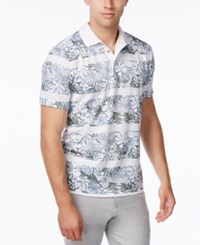Tasso Elba Men's Big And Tall Floral Striped Polo White Pure