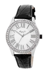 Kenneth Cole Women's Croc Embossed Leather Strap Watch Black