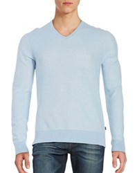 Michael Kors Textured V Neck Sweater Steel Blue