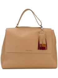 Orciani Fringed Detail Tote Nude Neutrals