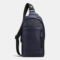 Coach Manhattan Sling Pack In Signature Coated Canvas Black Dark Denim Midnight