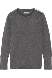 Burberry Button Detailed Cashmere Sweater Gray