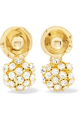 Beaufille Ripple Disco Gold Plated Crystal Earrings One Size