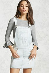 Forever 21 Distressed Mini Overall Dress Light Denim