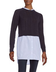 French Connection Cableknit Sweater Mock Layer Tunic Blue