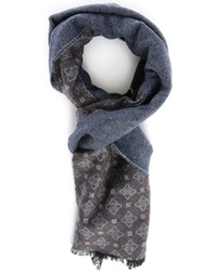 Hackett Blue Grey Blended Pattern Madellion Printed Scarf