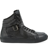 The Kooples Croc Embossed Leather High Top Trainers Black
