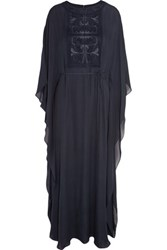 Tory Burch Embroidered Silk Georgette Maxi Dress Navy