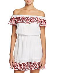 Pampelone Natalia Off The Shoulder Dress Swim Cover Up White Red