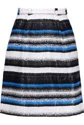 Oscar De La Renta Belted Boucle Mini Skirt Cobalt Blue