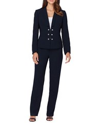Tahari By Arthur S. Levine Squared Shawl Collar Military Pant Suit Navy