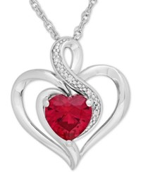 Macy's Ruby 1 1 6 Ct. T.W. And Diamond Accent Heart Pendant Necklace In Sterling Silver