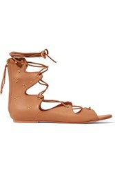 Iro Xiri Studded Leather Lace Up Sandals Tan