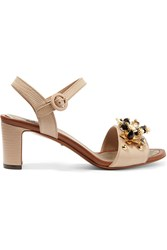 Dolce And Gabbana Embellished Lizard Effect Leather Sandals Taupe