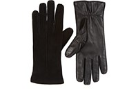 Barneys New York Women's Suede And Leather Gloves Black