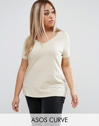Asos Curve Ultimate V Neck Slouchy T Shirt Stone Beige