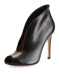 Gianvito Rossi Leather V Neck Peep Toe Bootie Black