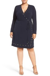 Michael Michael Kors Plus Size Women's Studded Faux Wrap Dress New Navy