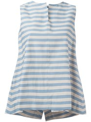 Jil Sander Navy Sleeveless A Line Blouse Blue