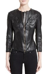Versace Women's Collection Cutout Leather Jacket
