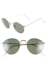 Ray Ban 50Mm Rounded Sunglasses Gold Green