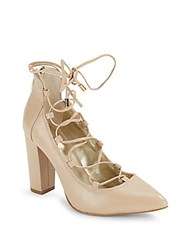 Saks Fifth Avenue Leather Lace Up Pumps Nude