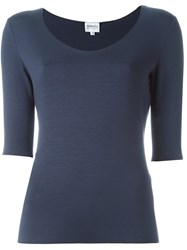 Armani Collezioni Scoop Neck T Shirt Blue