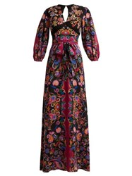 Etro Varo Sequin Embroidered Silk Dress Black Multi