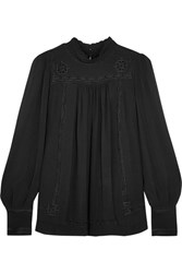 Isabel Marant Maeva Embroidered Silk Georgette Turtleneck Blouse Black