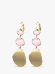 Dyrberg Kern Sedora Glass Crystal Drop Earrings Gold Pink