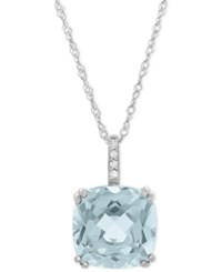 Macy's Aquamarine 2 5 8 Ct. T.W. And Diamond Accent Pendant Necklace In 14K White Gold