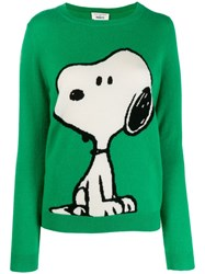 Chinti And Parker Snoopy Intarsia Jumper Green