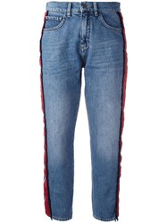 Victoria Beckham Side Stripe Jeans Blue